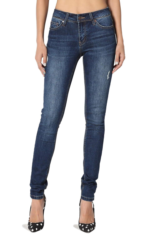 5927ccecd Amazon.com: TheMogan Basic 5 Pocket Mid High Waist Dark Blue Wash Stretch Denim  Skinny Jeans: Clothing