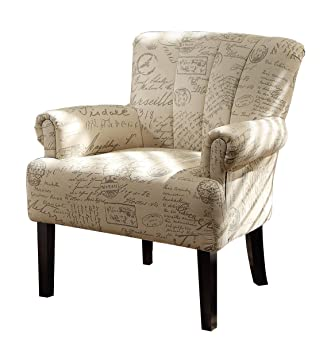 Phenomenal Homelegance Langdale Vintage Print Fabric Accent Chair Beige Machost Co Dining Chair Design Ideas Machostcouk