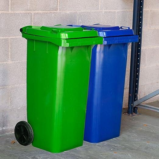 CONTENEDOR BASURA 120 l. Cubo basura 100% HDPE resistente con tapa y ruedas (Azul): Amazon.es: Jardín