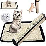 Cat Scratching Mat Cat Scratcher for Cat Tree Natural Sisal Mat with Velcro and Spiral Pins for Wrapping Around…