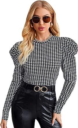 ROMWE Women's Striped Check Print Mock Neck Long Sleeve Blouse Top