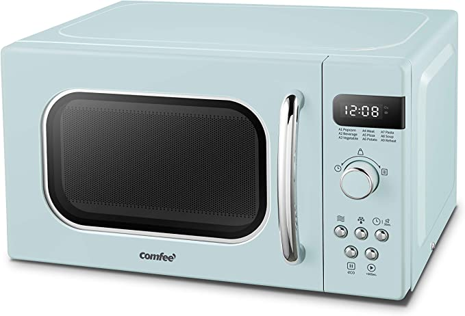 COMFEE AM720C2RA-G Retro Style Countertop Microwave Oven with 9 Auto Menus Position-Memory Turntable, Eco Mode, and Sound On/Off (Pastel Green) ...