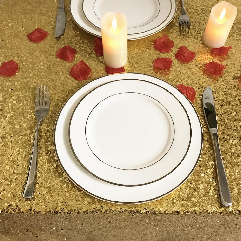 BalsaCircle TRLYC FathersDay Gift Matt Ivory Sequin Tablecloth for Party-60x102Inch 60*102