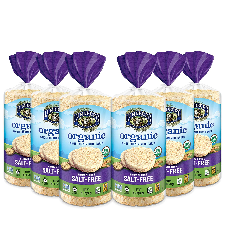 Lundberg Organic Brown Rice Cakes, Salt-Free, Organic Salt Free, 8.5 Ounce (Pack of 6), 51 Ounce