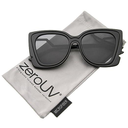 0ac2e77db Oversize Notched Frame Zigzag Temple Flat Lens Cat Eye Sunglasses 51mm ( Black-Black/
