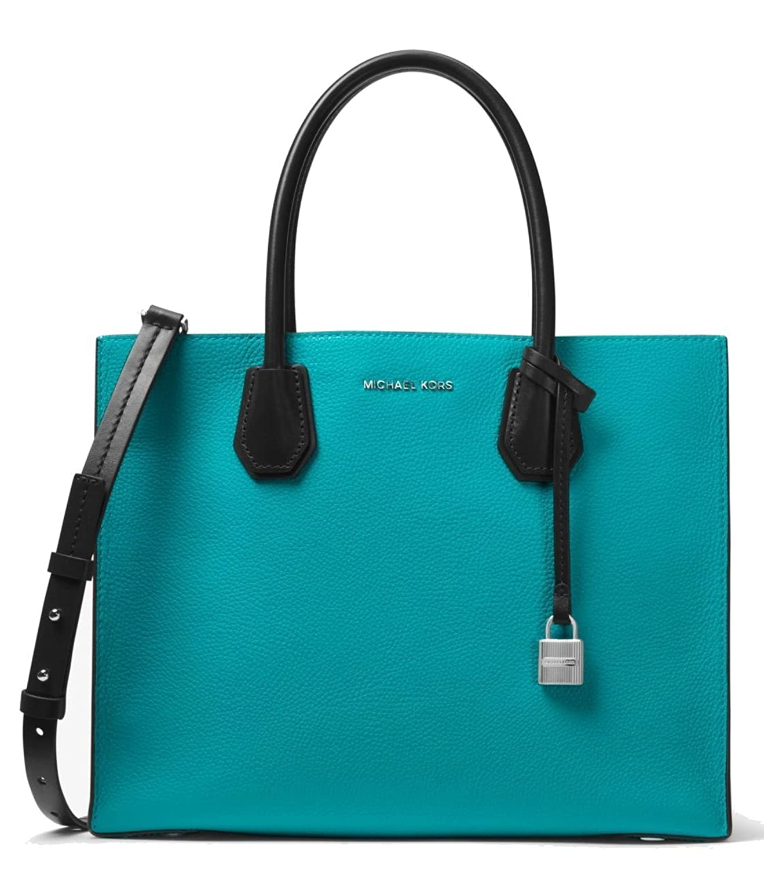 7779377245d4 Amazon.com: MICHAEL Michael Kors Mercer Large Color-Block Leather Tote Bag,  Teal Optic White Black: Shoes