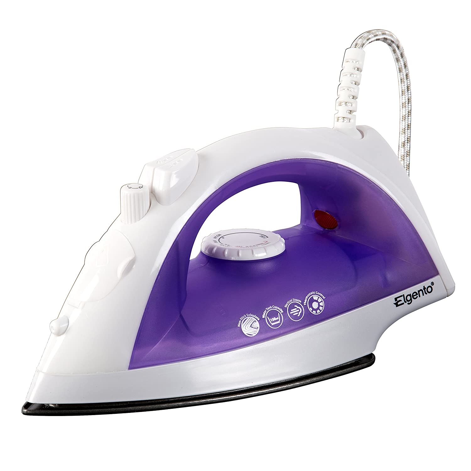 Elgento E22002 Steam Iron, Thermostat Control, 2000 W, 0.1 Litre, White/Purple