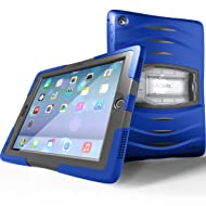 UZBL Heavy Duty [ShockWave Series] Full-body Rugged Protective Case with Built-in Screen Protector and Removable Stand Compatible with Apple iPad 9.7 inch 2017/2018 (5th / 6th Generation), Blue