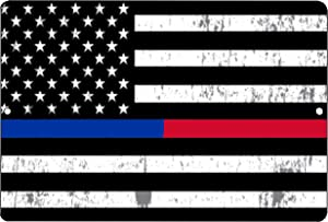 Rogue River Tactical Thin Blue Red Line Police Officer & Firefighter Flag Metal Tin Sign Wall Decor Man Cave Bar Support PD FD