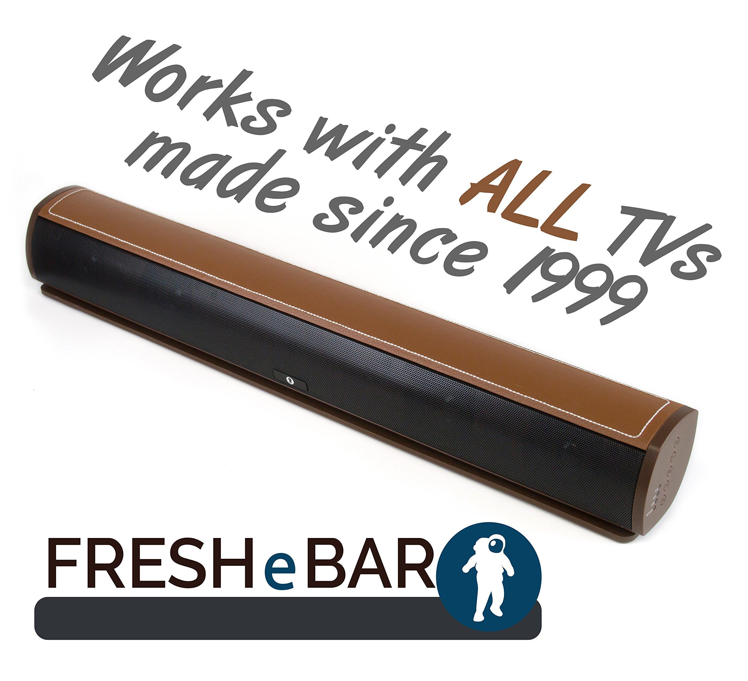 Bluetooth Leather Television Sound Bar - FRESHeBAR TV Soundbar - 24 inch, 90 Watt with Built-in Subwoofer - Dark Brown / Brown Leather