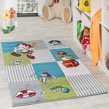 Paco Home Kinder Teppich Pirat mit Papagei Schatzkiste Kinderzimmer Karo  Grün Creme Türkis, Grösse:80x150 cm