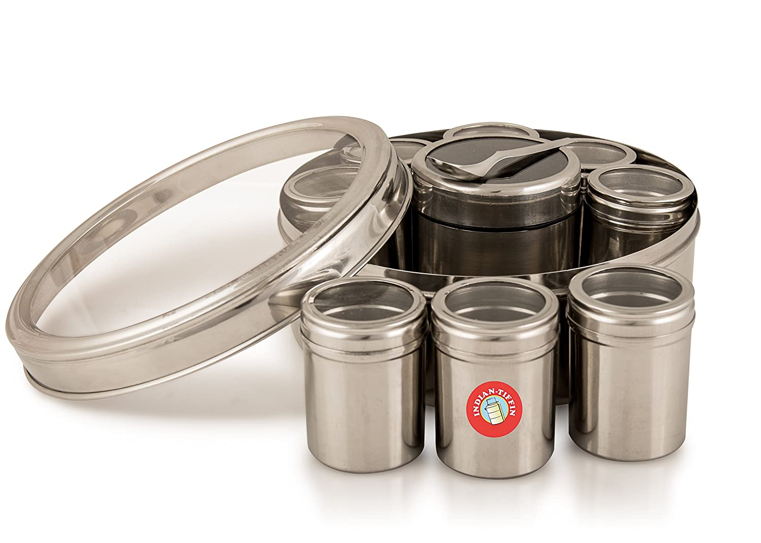 Authentic Indian Masala Dabba Spice Box with airtight lids (clear lid) Indian-Tiffin 3SISMDCL