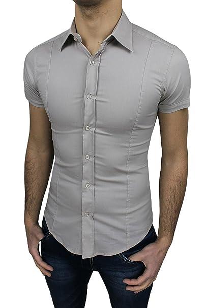 f8cf2556f8 Camicia Uomo Slim Fit Beige Aderente Elasticizzata Manica Corta Casual (S)