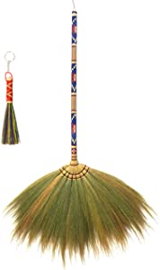 Handmade Thai Grass Broom with Decorative Solid Wood Handle Vintage Retro Broomcorn Style Sweeper Plus Dustpan Brush (Worth $4.99)