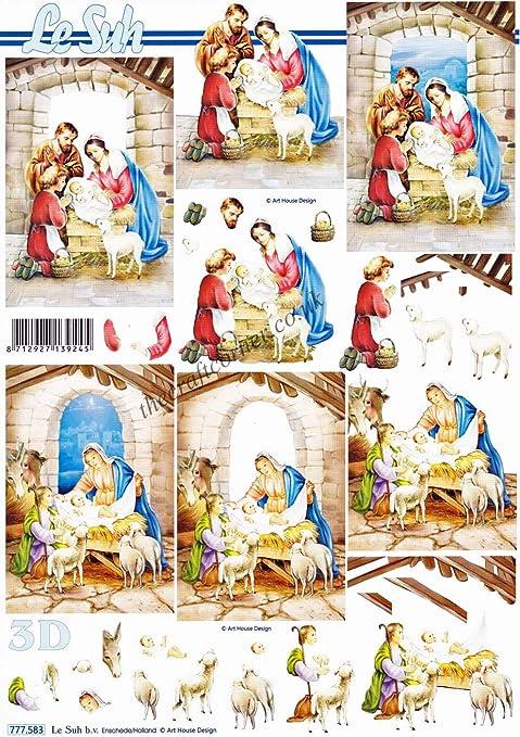 Christmas Nativity Scenes Of Mary, Joseph \u0026 Baby Jesus 3d Decoupage Sheet  By Le Suh