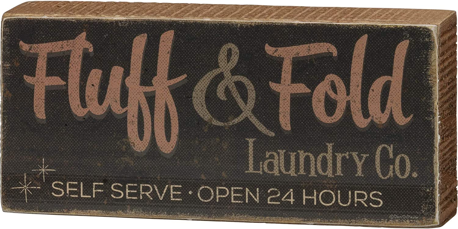 """Primitives by Kathy Wood Block Sign - Fluff & Fold Laundry Co. Self Serve Open 24 Hours 6"""" x 2.75"""" Home & Laundry Decor Sign"""