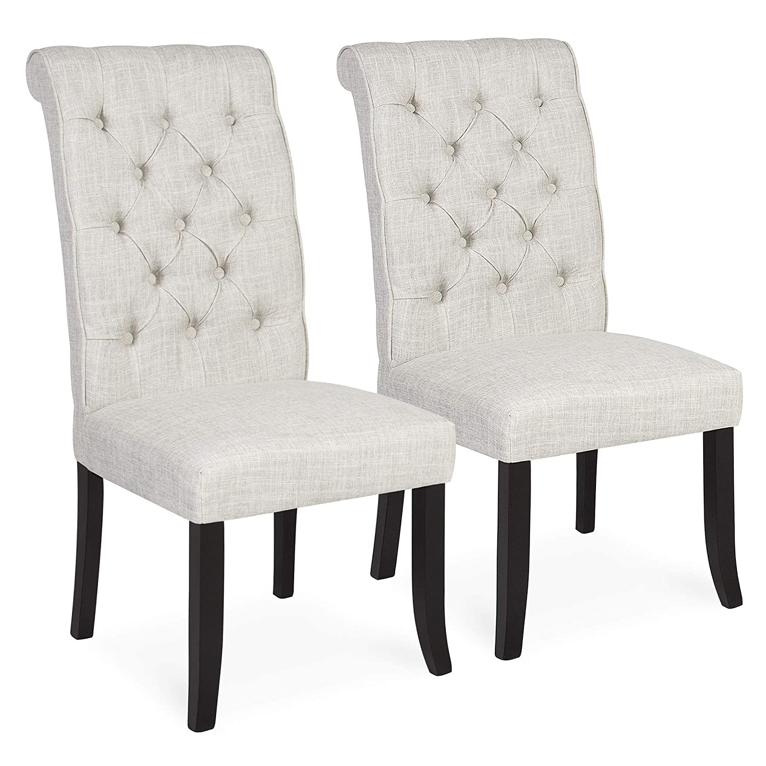 Best Choice Products Furniture Set Of 2 Tufted Parsons Dining Chair Set Modern Wood Linen Side Chair