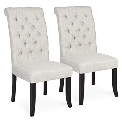 6facf7f3e21 Amazon.com - Best Choice Products Set of 2 Modern Linen Tufted Parsons  Dining Side Chair Home Furniture w Wooden Frame - White - Chairs