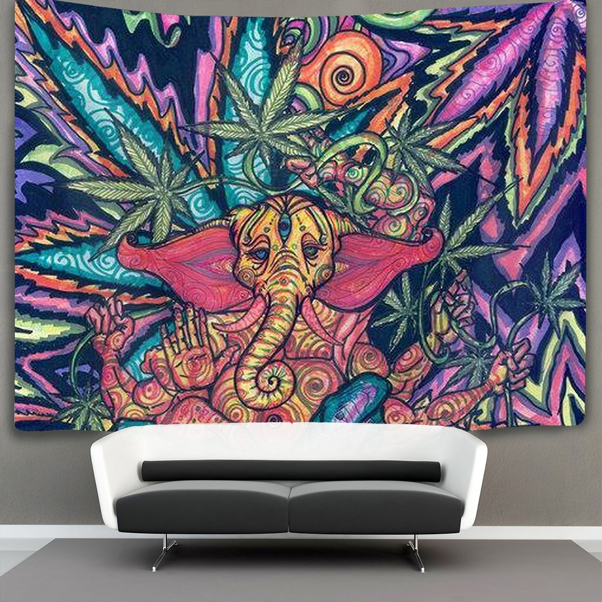 US TANG Marijuana Weed Leaf Green 50'' X 60'' Hippie Bohemian Tapestries Wall Hanging Psychedelic Tapestry Wall Hanging Indian Dorm Decor for Living Room Bedroom