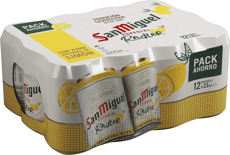 San Miguel Radler con Limón Cerveza con Zumo Natural de Limón 3.2 Volumen de Alcohol - Pack de 12 x 33 cl