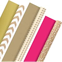 Hallmark Reversible Wrapping Paper, Kraft Gold and Pink (Pack of 3, 120 sq. ft. ttl.) for Mothers Day, Easter, Baby…