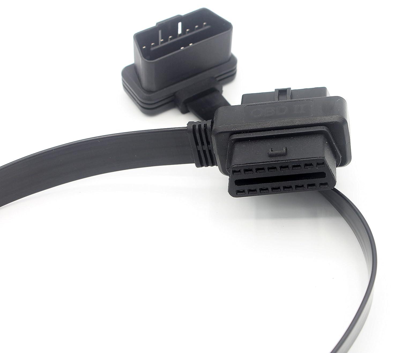 3,2 ft LoongGate Ultra Low Profile OBD-II lungo cavo di prolunga OBD2 1 Metri Cavo piatto Noodle Full 16 pin Pass-through per lettori WiFi USB Bluetooth USB Scanner di codici OBDII
