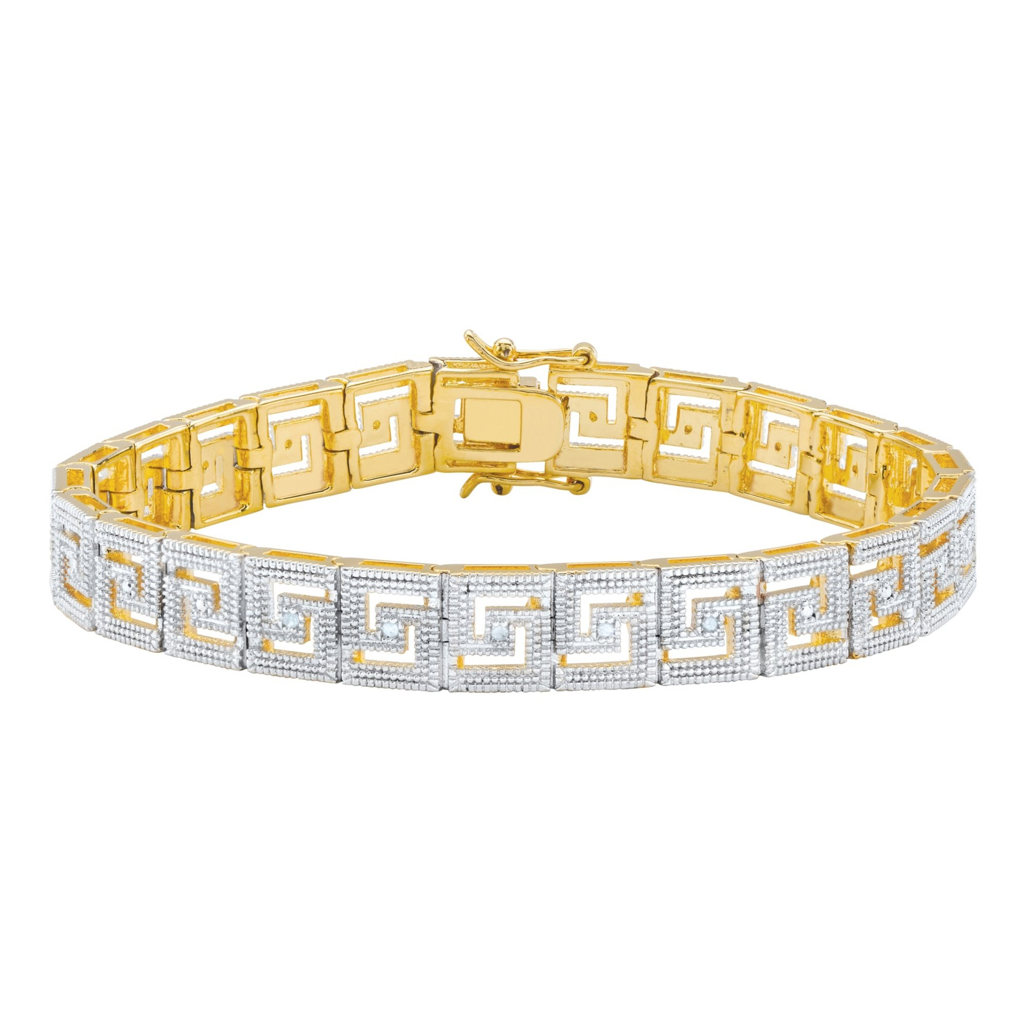 White Diamond Accent 14k Gold-Plated Two-Tone Beaded Pave-Style Greek Key Bracelet 7.5''