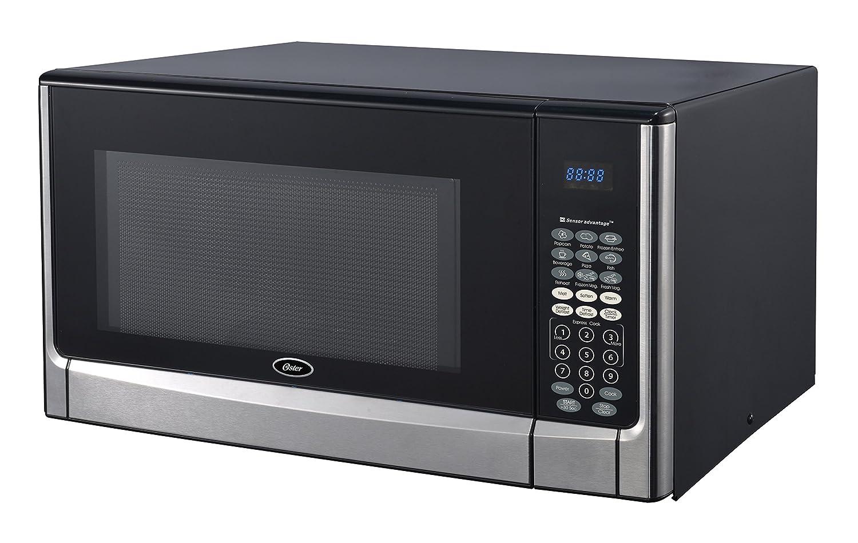 1.6 cu Stainless Steel//Black Oster OGYZ1604VS 1100W Inverter//Sensor Microwave Oven ft