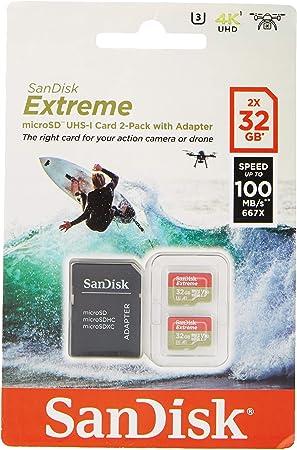 SanDisk Tarjeta de Memoria Extreme 32 GB microSDHC para cámaras de Deportes de acción + Adaptador SD, Velocidad de Lectura hasta 100 MB/s, Clase 10, U3, V30 y A1 - Pack 2 Unidades: Amazon.es: Informática