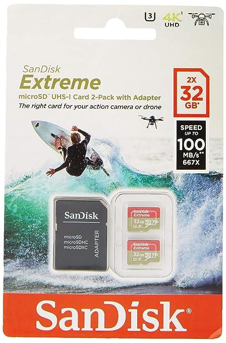 SanDisk Tarjeta de Memoria Extreme 32 GB microSDHC para cámaras de Deportes de acción + Adaptador SD, Velocidad de Lectura hasta 100 MB/s, Clase 10, ...