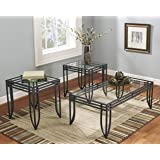 Roundhill Furniture 3307 Matrix 3-in-1 Metal Frame Accent Coffee and 2 End Table Set