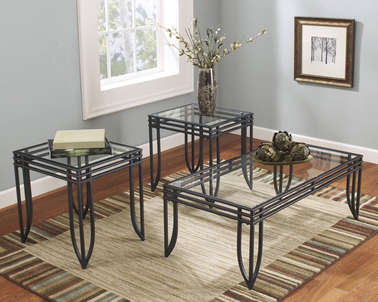 Roundhill Furniture 3307 Matrix 3-in-1 Metal Frame Accent Coffee 2 End Table Set