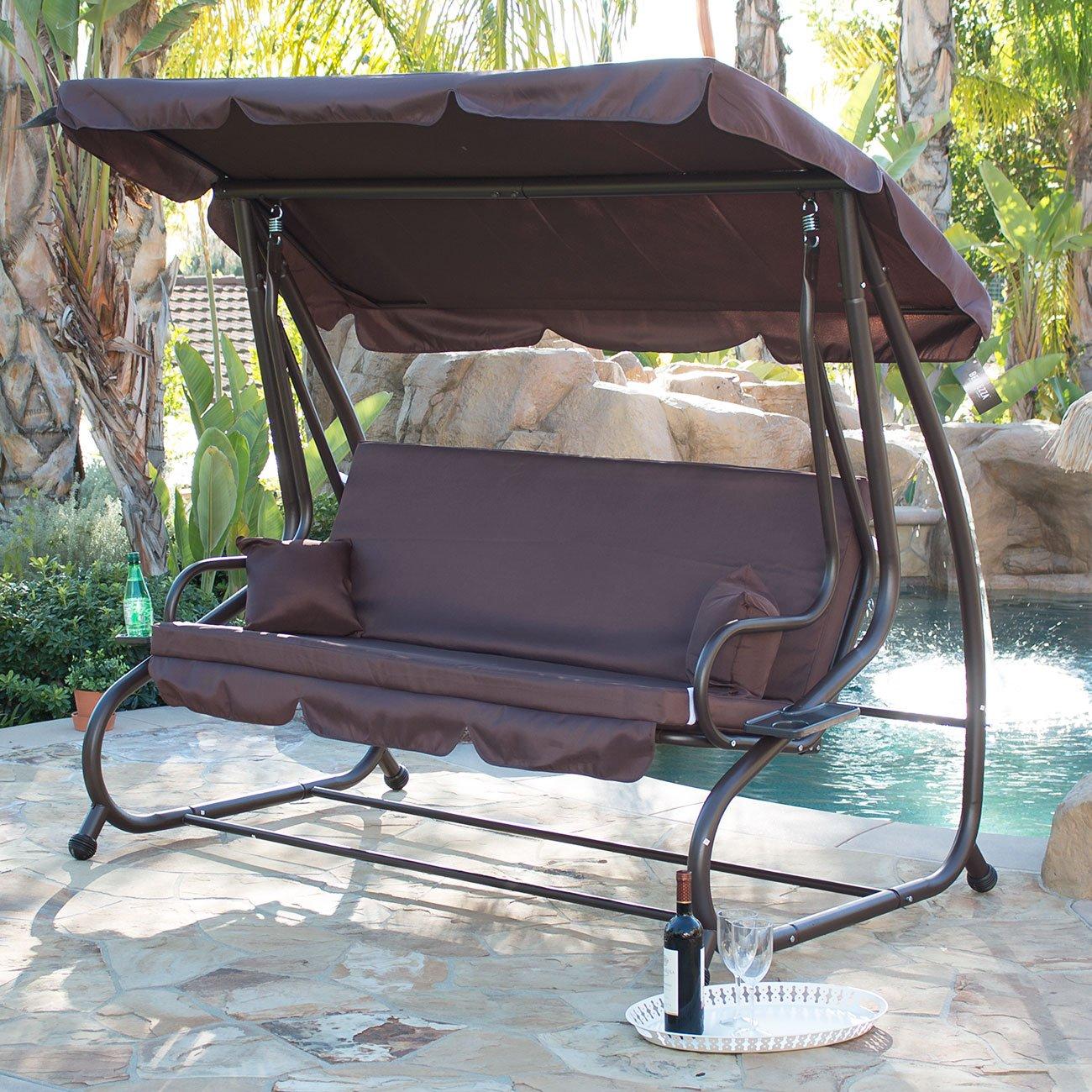 Outdoor hammock bed with cover - Amazon Com Belleze Porch Swing Outdoor Bed Hammock With Steel Frame Adjustable Tilt Canopy Dark Brown Garden Outdoor