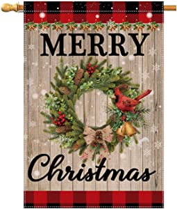 QOR Balance Merry Christmas Garden Flag,Old Wood Grain Double Sided Sign,Red Buffalo Plaid Merry Christmas Banner, Winter Holiday Decorative Yard Flag 28x40 inch