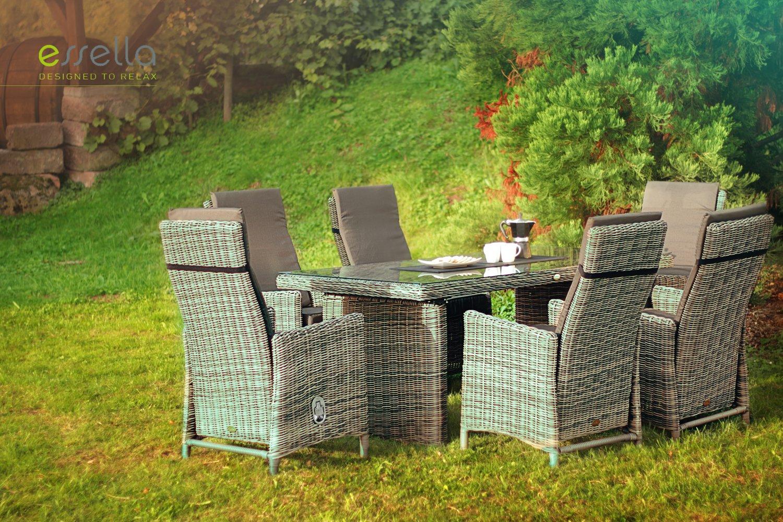 essella polyrattan essgruppe rom in naturoptik mit verstellbaren r ckenlehnen g nstig. Black Bedroom Furniture Sets. Home Design Ideas