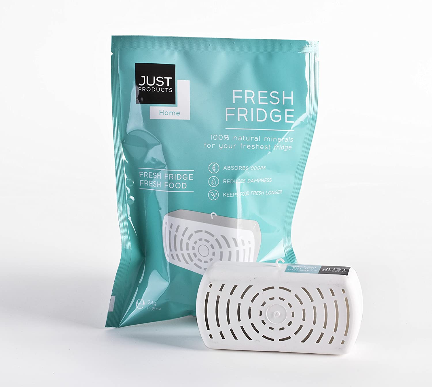 Fridge deodorizer and air freshener - Fresh refrigerator air purifier and filter - Removes and eliminates odors and moisture Just Products