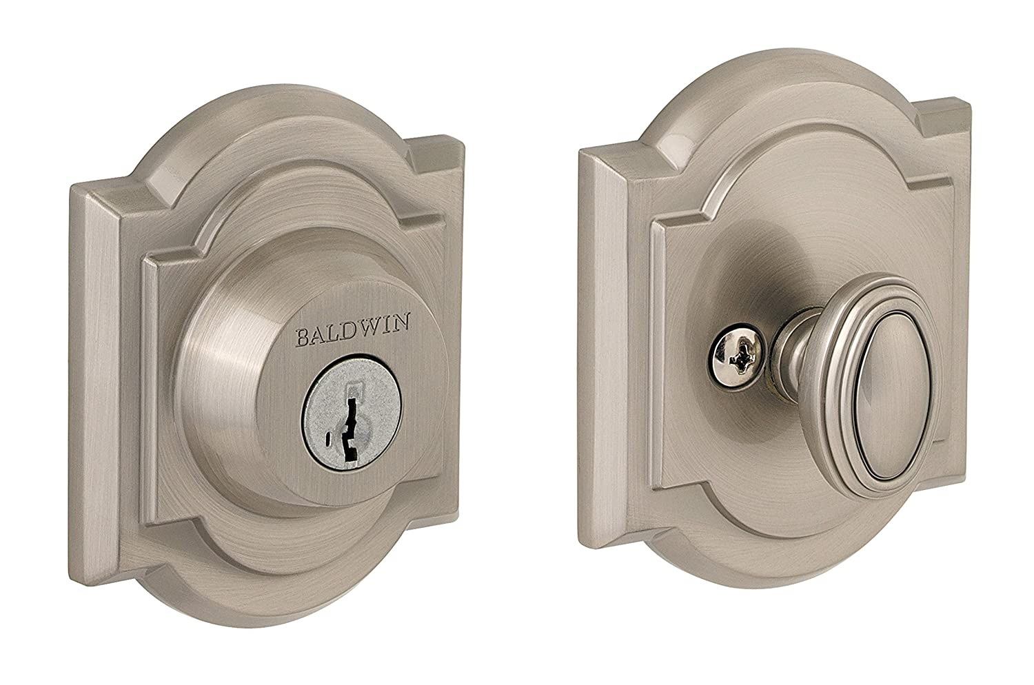Baldwin Prestige 380 Arched Single Cylinder Deadbolt Featuring SmartKey in Satin Nickel