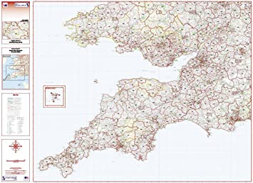 Map Of England To Colour.Postcode District 7 Map South West England And South Wales Colour Folded