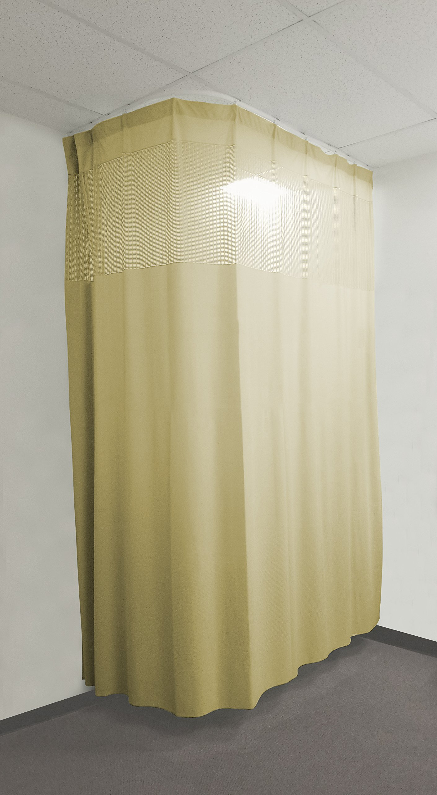 10Ft Medical Privacy Flexible Curtains High Ceiling Hospital Lab Clinic Curved Room Decorative w/ Track- 10ft High (Beige)
