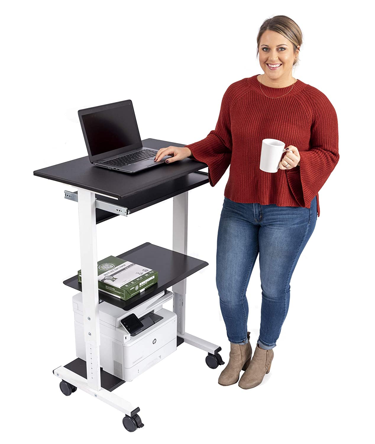 Mobile Adjustable Height Stand Up Workstation White Black