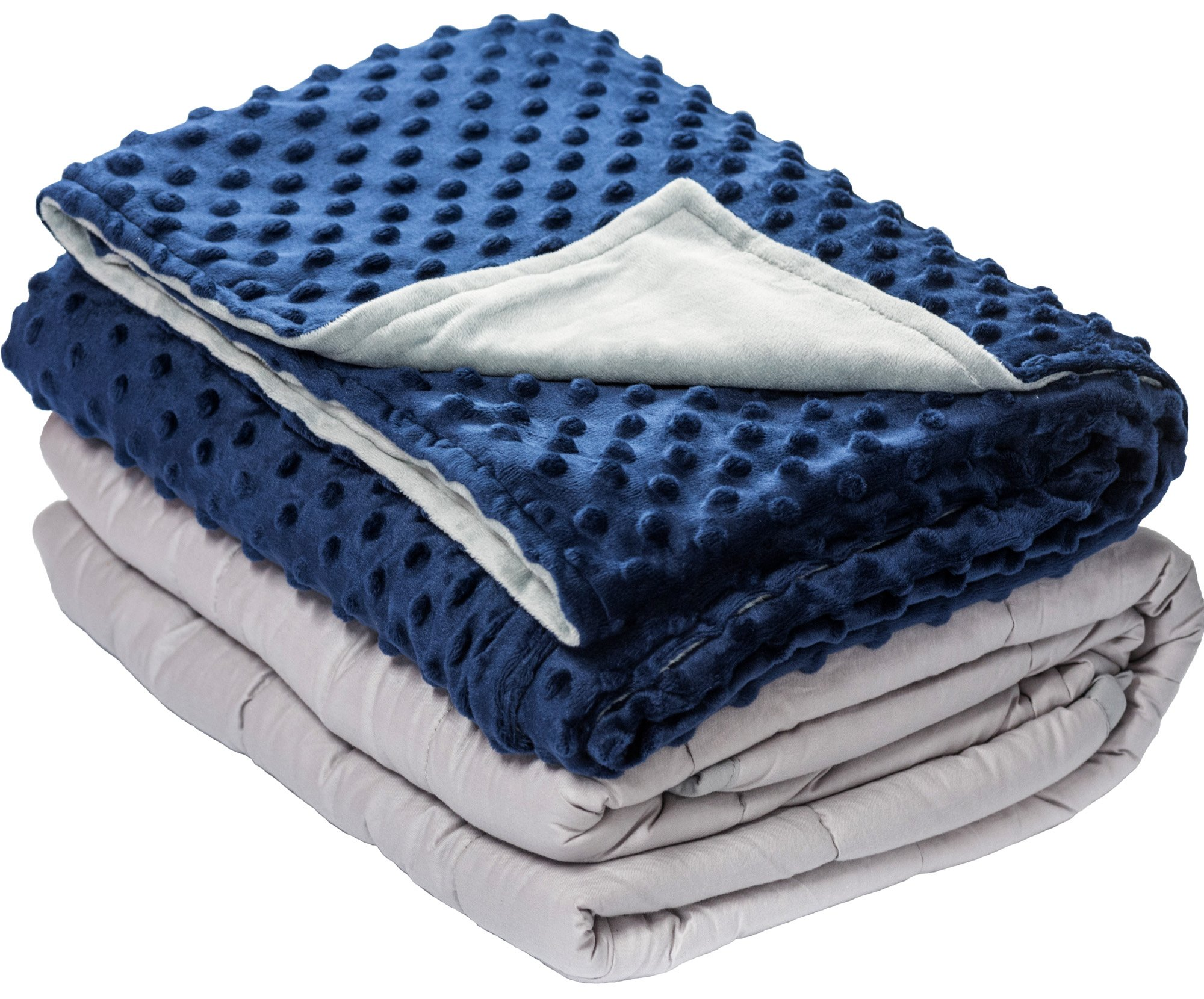 10 lbs Weighted Blanket with Dot Minky Cover for Kids Teens (Inner Light Gray/Cover Navy Blue & Gray, 48''x68'' 10lbs) by Loved Blanket
