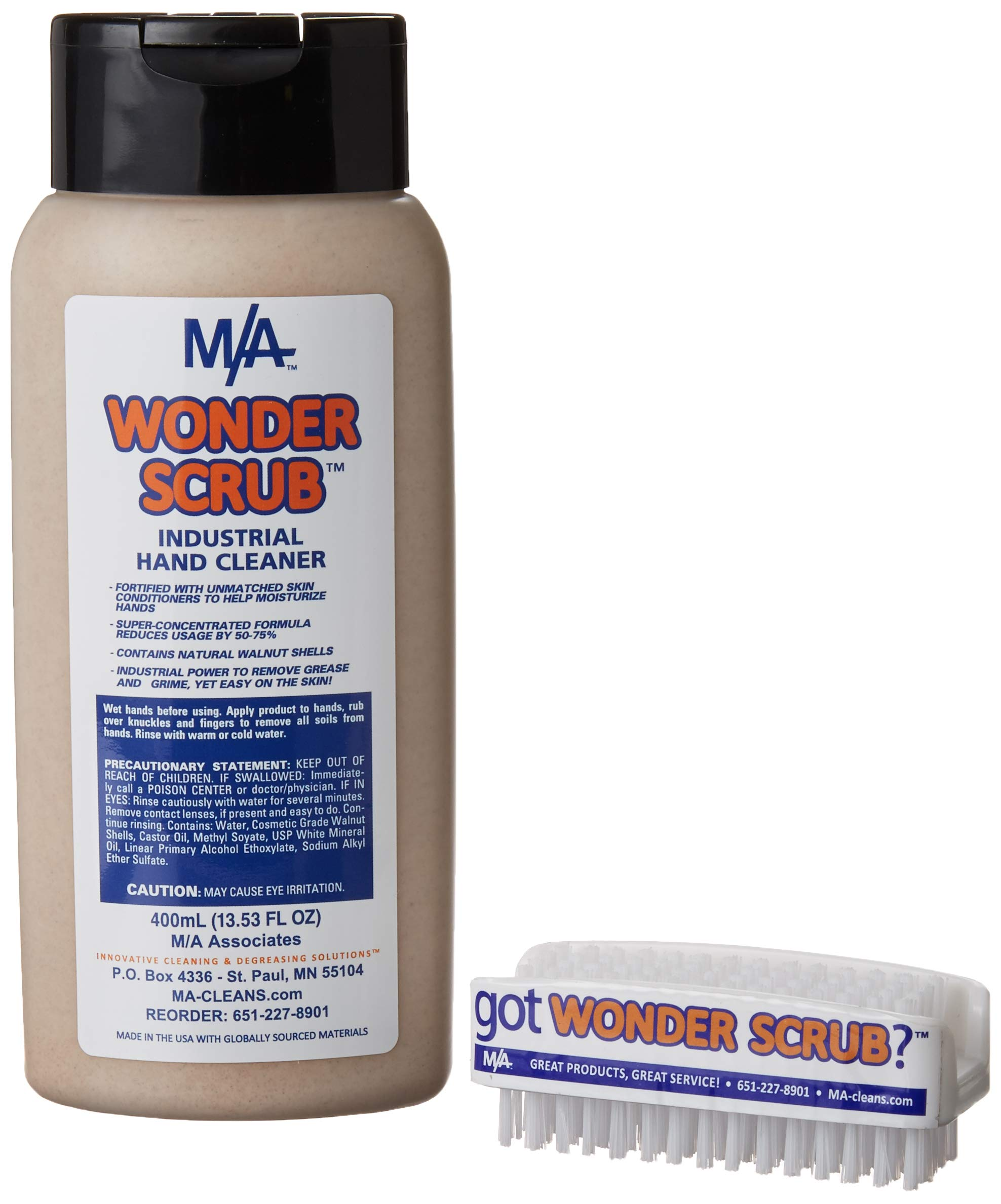 WONDER SCRUB Hand Cleaner Industrial Strength, Heavy duty for grease, grime, oil, paint. (400ml & Brush)''The BEST hand cleaner on the market!'' Patented Formula. Accept NO Substitutes! by M/A