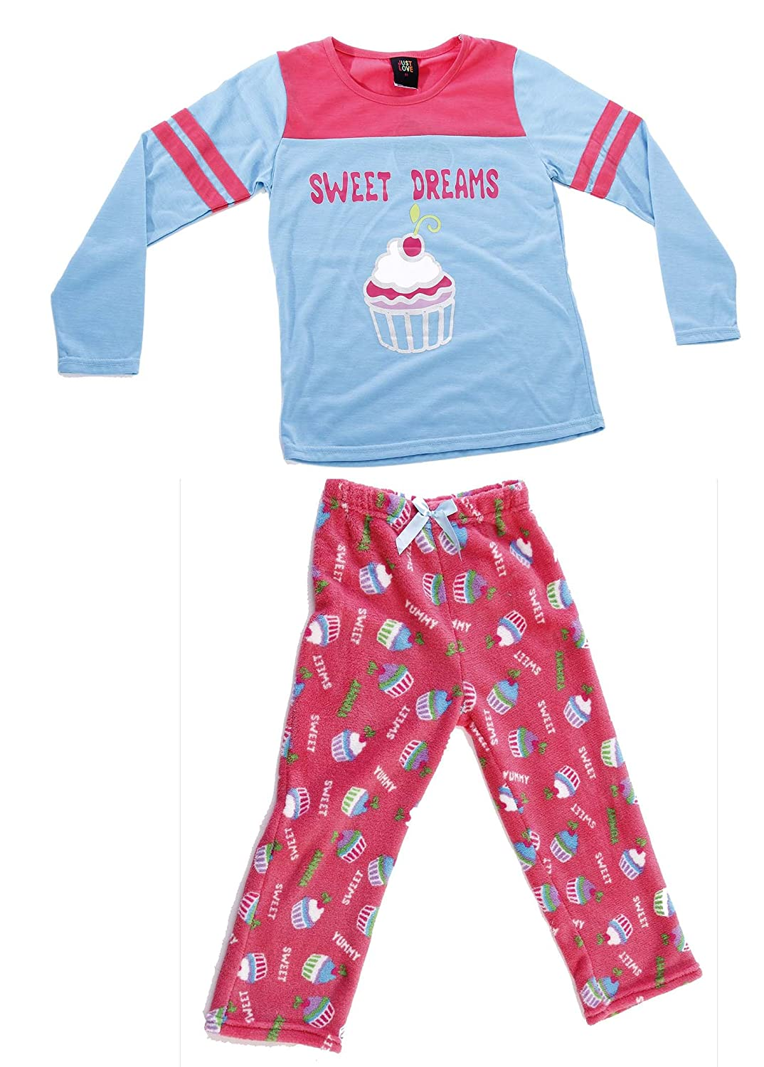 Just Love Two Piece Girls Screen Print Pajamas Set - Jersey Top - Fleece Bottom