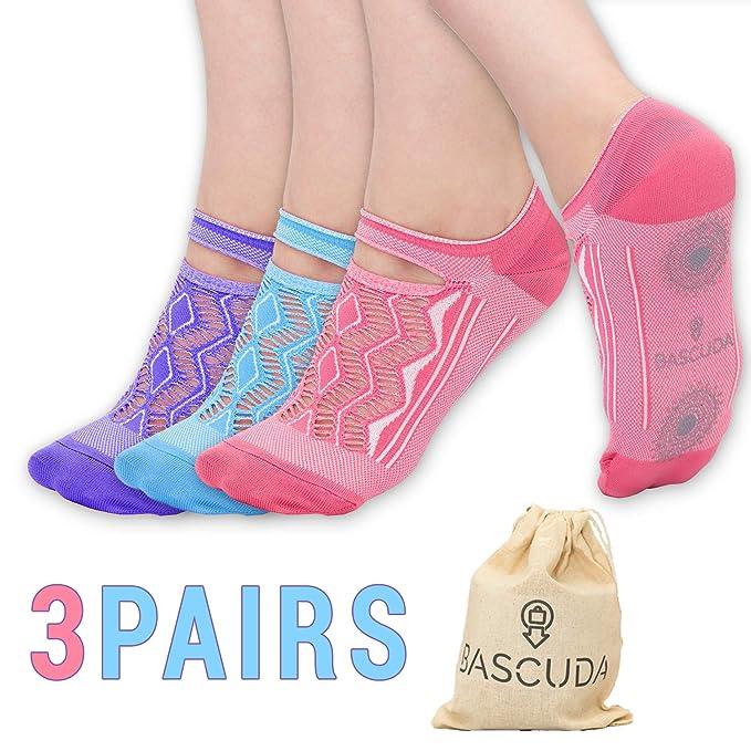 Bascuda 3 Pares de Calcetines de Yoga Para Mujeres | Apretones Antideslizantes | Ideal Para Pilates, Fitness, Dance, Barre, Ballet y Uso Diario