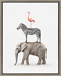 Kate and Laurel Sylvie Stacked Safari Animals Framed Canvas Wall Art by Amy Peterson, 18x24 Gray, Charming Quirky Wall Decor for Living Room, Bedroom, Or Nursery