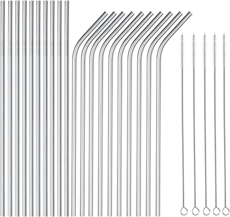 10X Reusable Stainless Steel Drinking Straws Extra Wide Party Cleaning Brush Bag