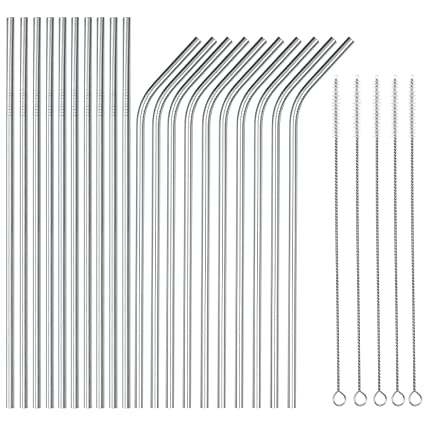 81e0bf5d344 OKGD Wholesale Set of 20 Stainless Steel Straws Long 8.5 Inch Drinking  Metal Straws Reusable Drinking Straws for 20 OZ (10 Straight|10 Bent|5  Brushes)