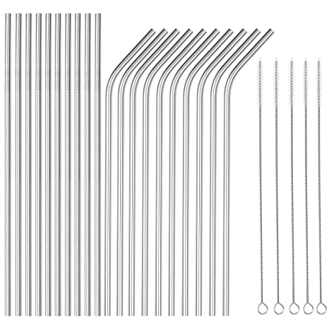 OKGD Wholesale Set of 20 Stainless Steel Straws Long 8 5 Inch Drinking  Metal Straws Reusable Drinking Straws for 20 OZ (10 Straight|10 Bent|5  Brushes)
