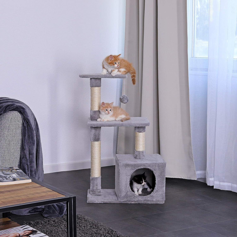 Dibea KB00253 Árbol Rascador para Gatos, Escalador, Altura 80 cm, Color Gris Claro
