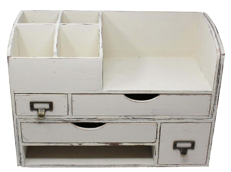 Adjustable White Washed Vintage Rustic Wooden Office Desk Organizer & Mail Rack for Desktop, Tabletop, or Counter – Distressed Wood Storage Shelf Rack–for Office Supplies, Desk Accessories, or Mail
